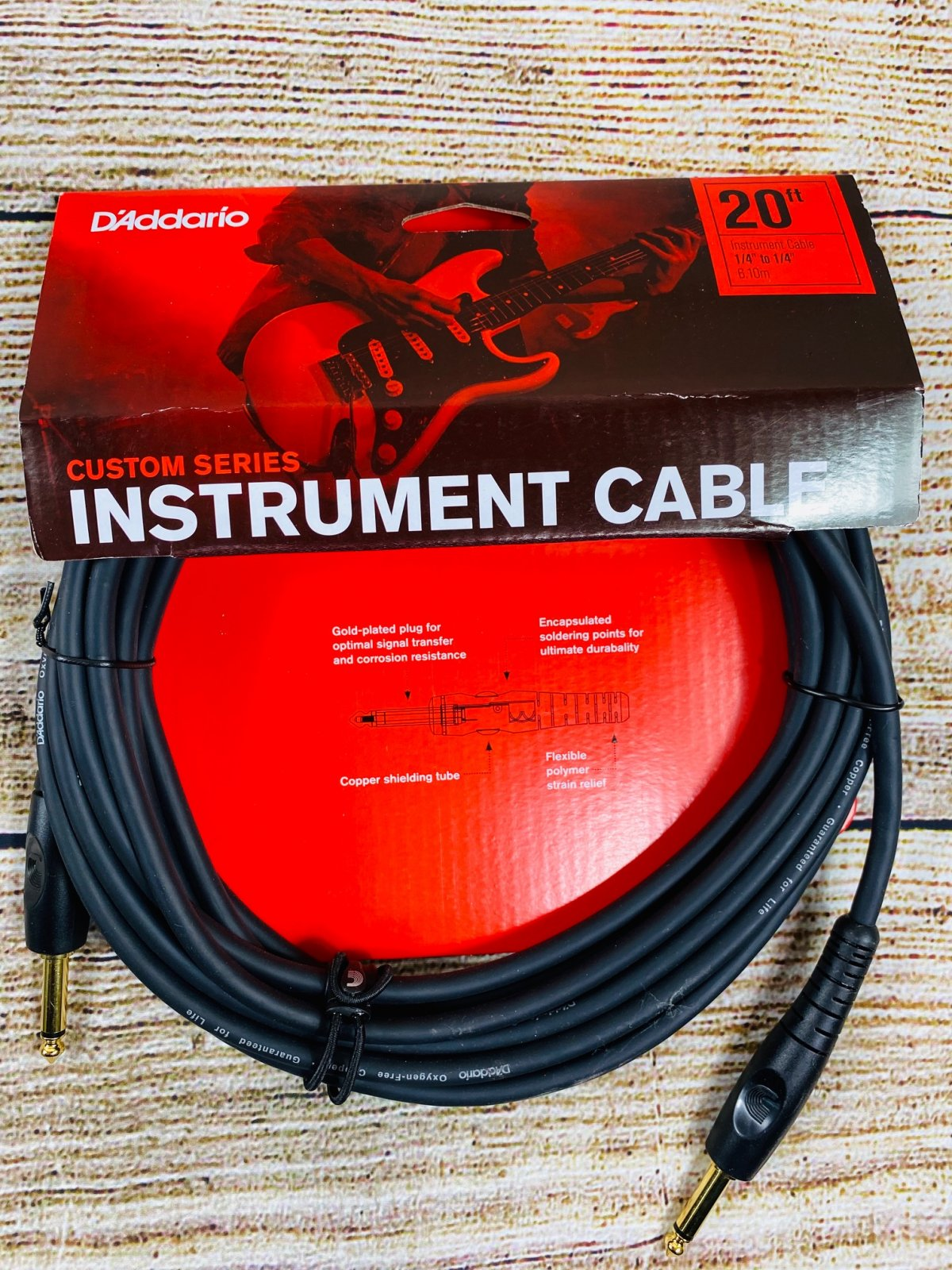 D'Addario PW-G-20 Custom Series Straight to Straight Instrument Cable - 20 foot