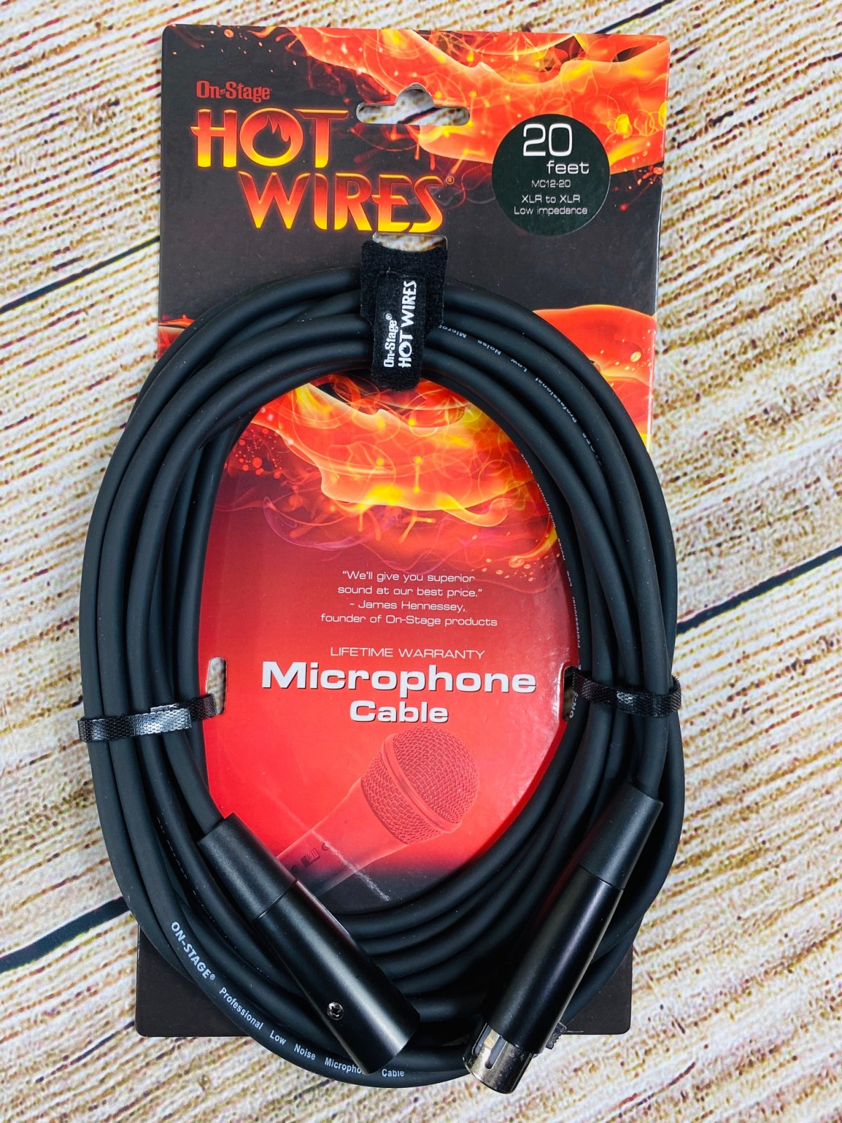 On-Stage Hot Wires XLR Microphone Cable, 20 Feet