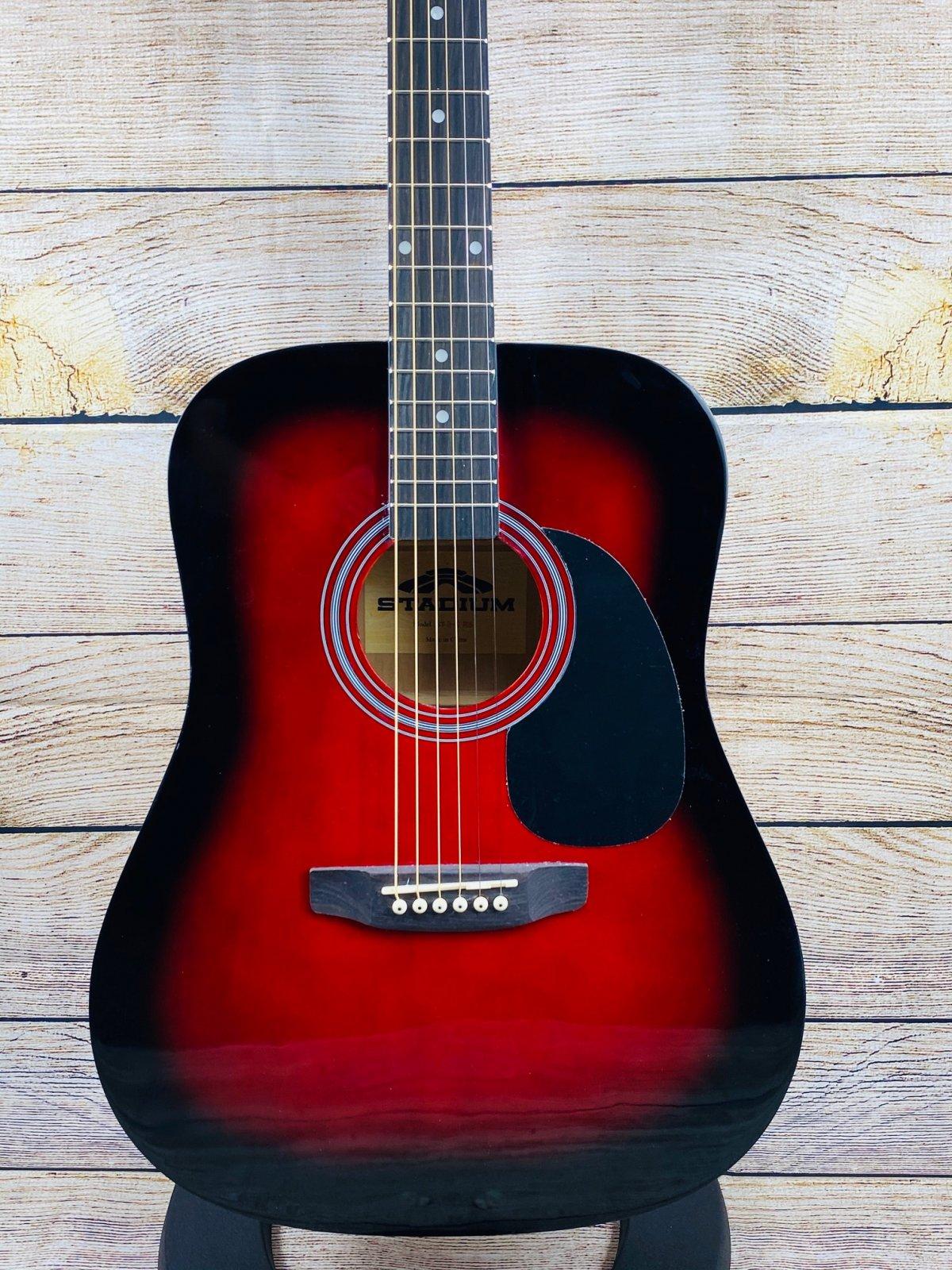 Stadium D-42 Steel string Acoustic Guitar, Red