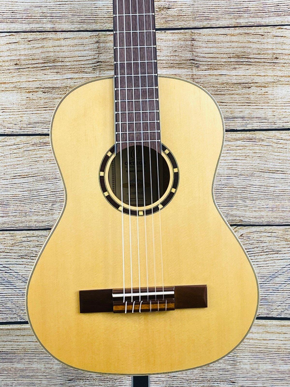 Ortega Guitars R121 Family Series Spruce Top Nylon String 1/2 Size Acoustic Guitar, Walnut Fretboard, Natural
