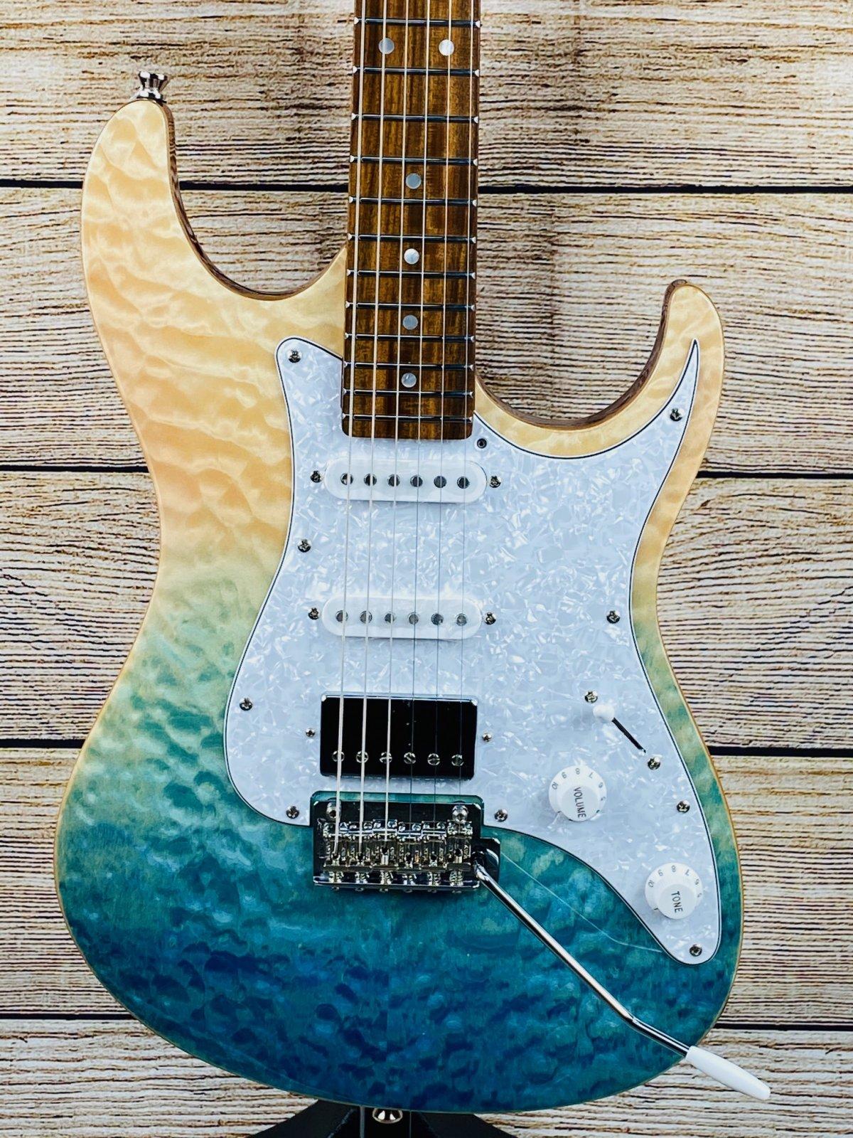 Tagima Stella DW Electric Guitar - Transparent Blue Fade