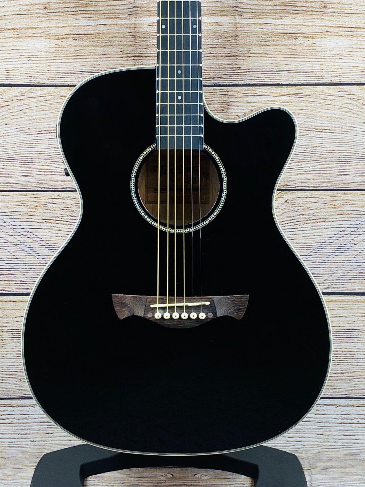 Tagima TW-29 EQ medium Jumbo Cutaway Acoustic Electric Guitar - Black