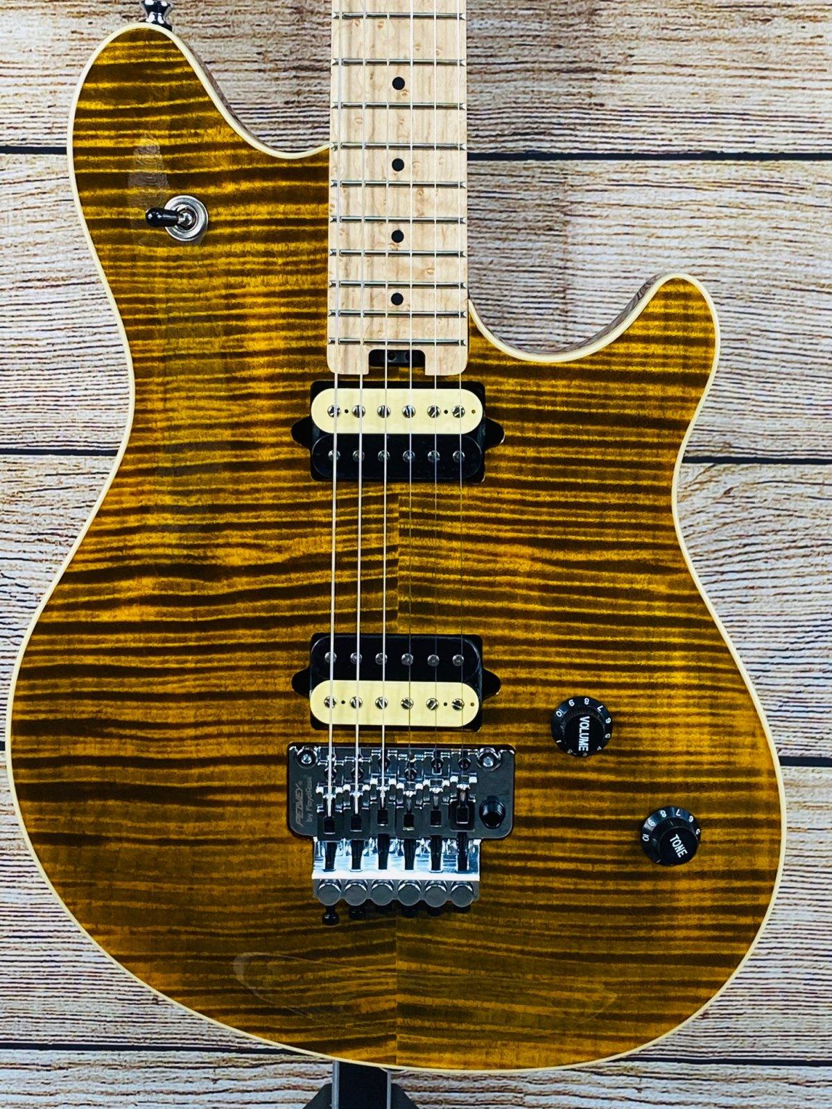 Peavey HP2 Electric Guitar Birds-Eye Maple Fretboard with Case, Tiger Eye