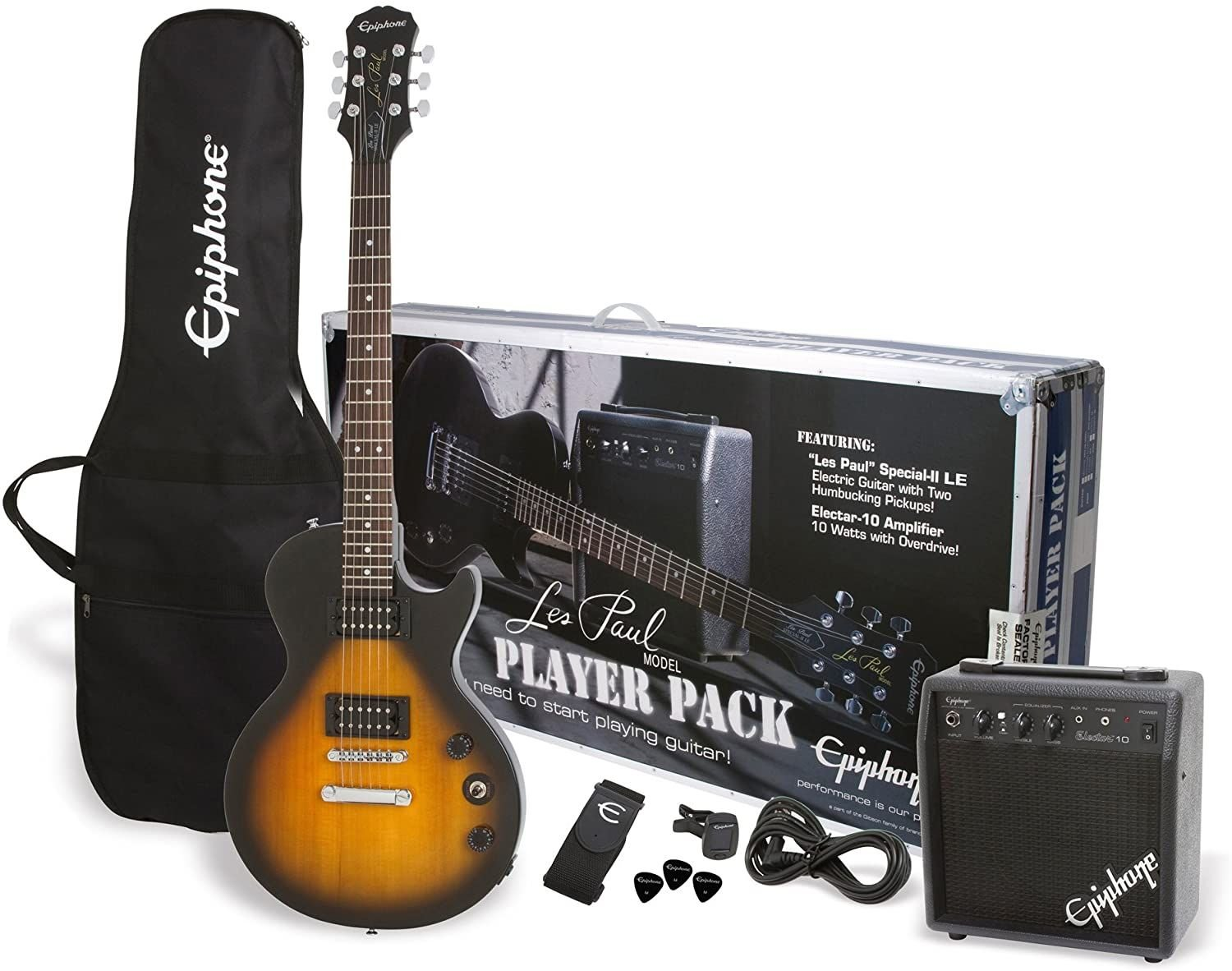 Epiphone Les Paul electric guitar player pack Vintage Sunburst