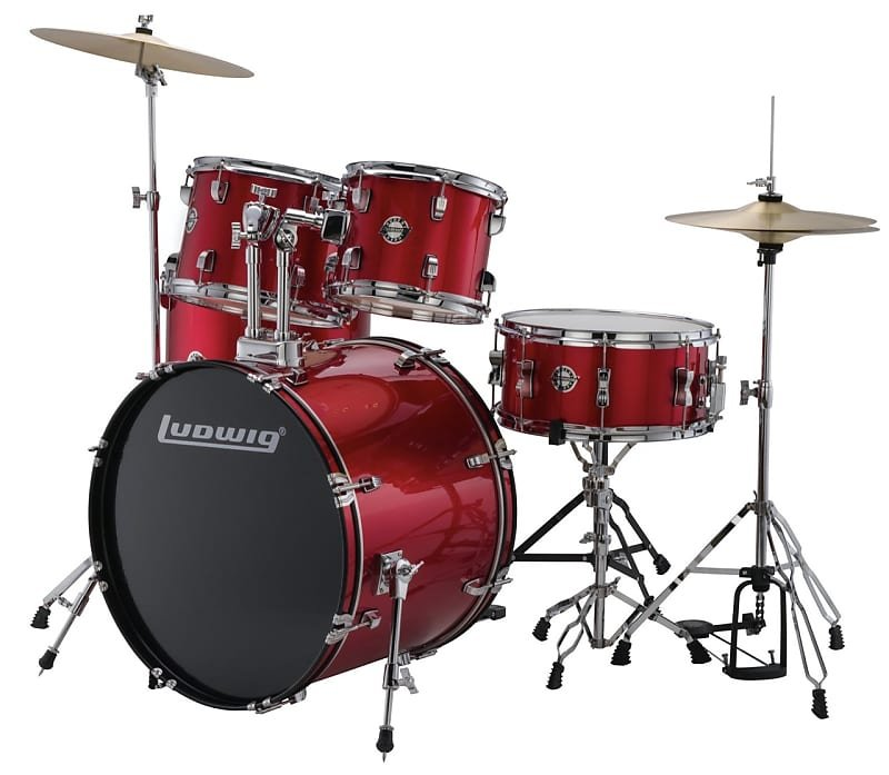 Ludwig Accent Series 5-Piece Drum Set Red Foil