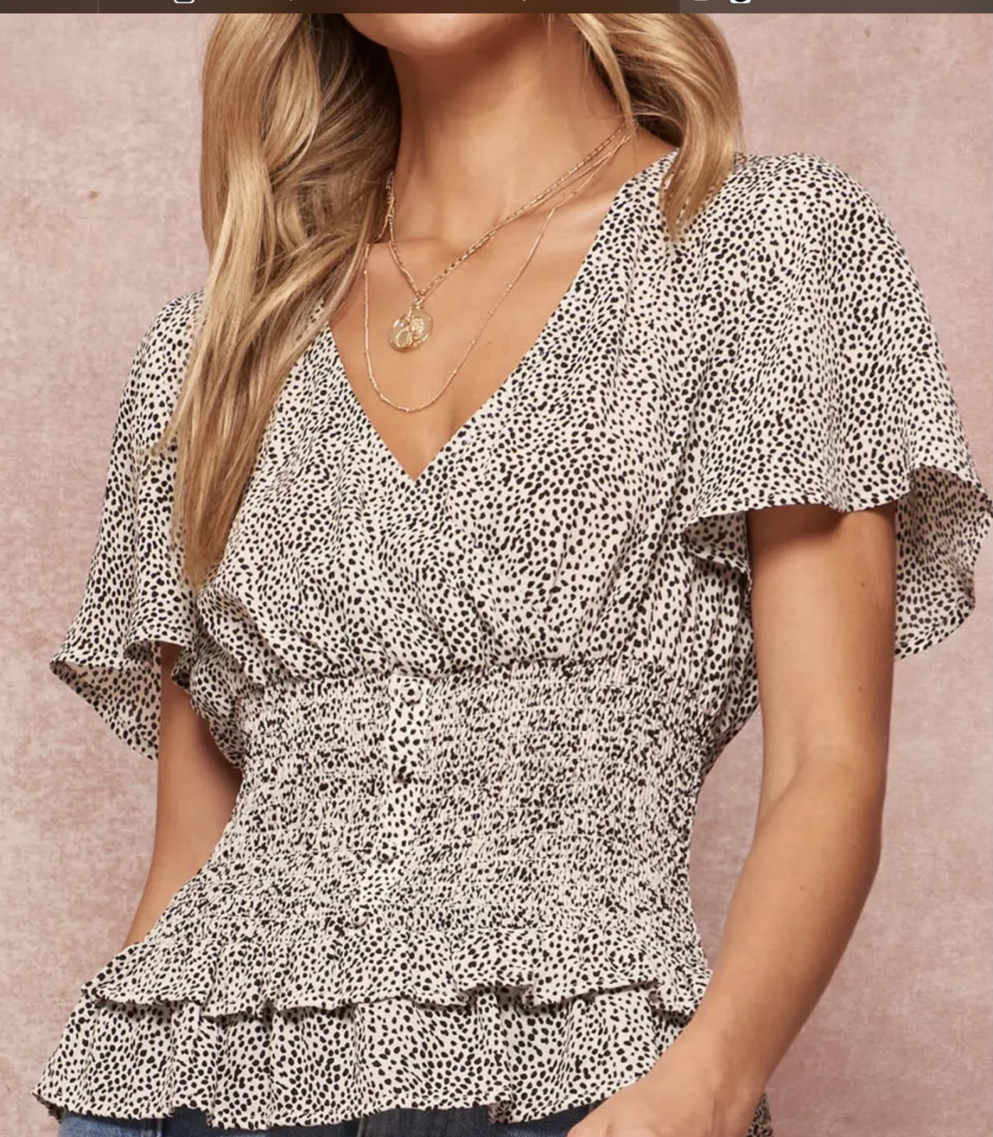 Black And White Smocked Top