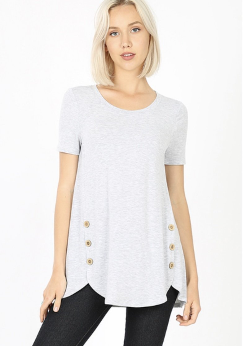 Short Sleeve Side Wood Button Top