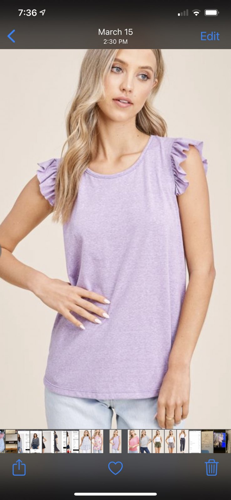 Ruffle Sleeve Purple Top