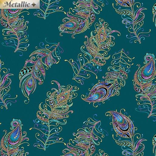 Peacock Flourish - Float Feathers Sml DkTealMulti