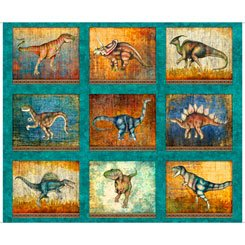 Lost World - Large Dinosaur Patches - Dk Turquoise