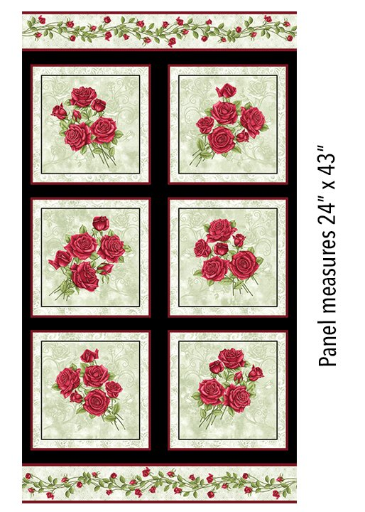 Festive Roses - Panel Green