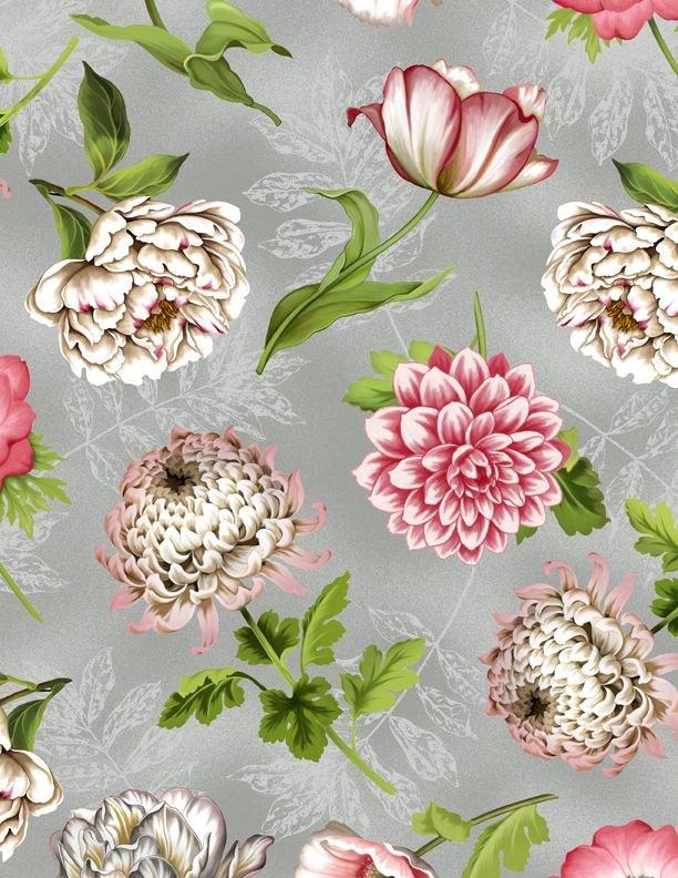 Tivoli Garden - Tossed Flowers Lt. Gray