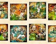 GRIDIRON: Football Picture Patches Panel, Cream