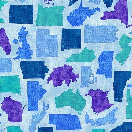 Quilter's Trek: Needle Scratched States - Blue