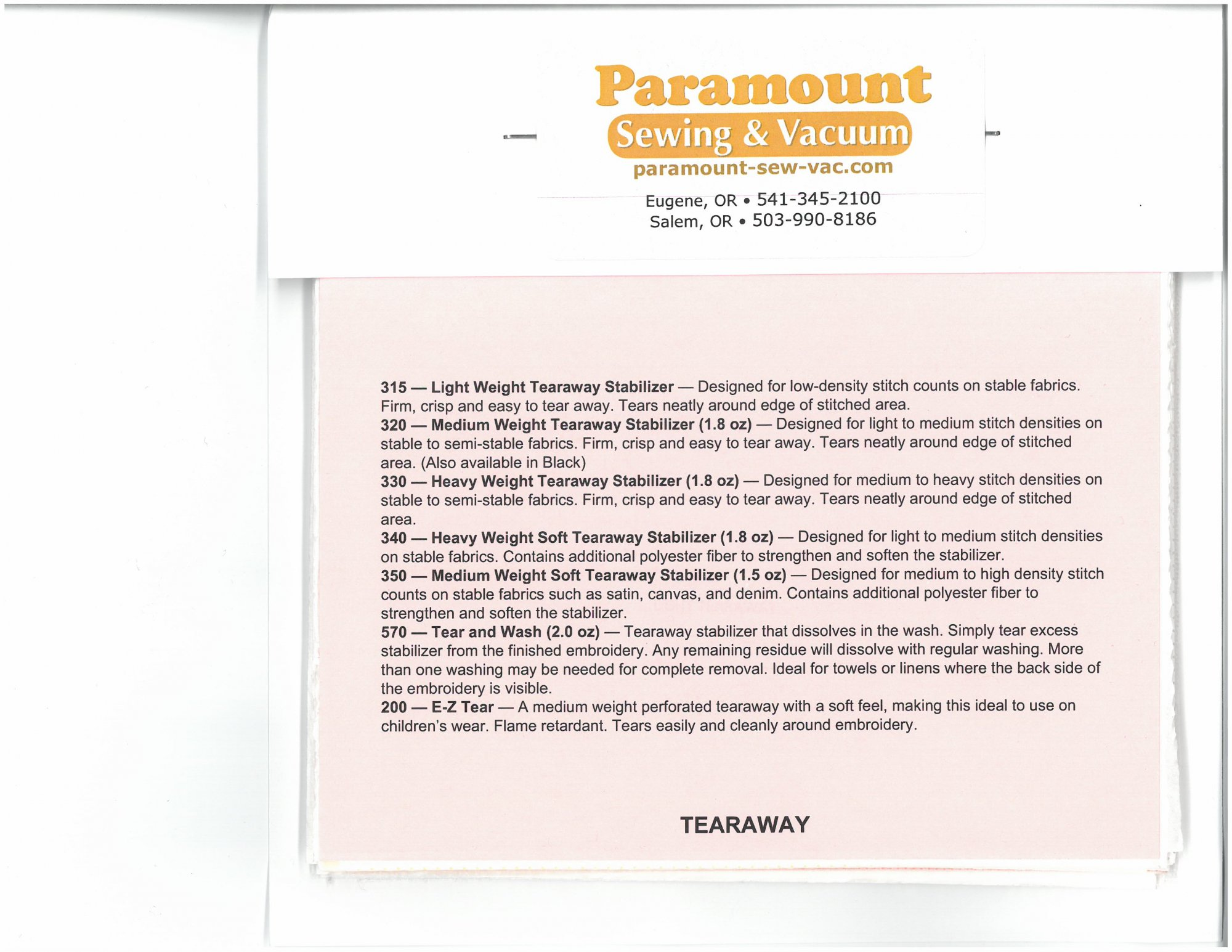 Paramount Stabilizer: Sampler Pack of Stabilizers w/descriptions