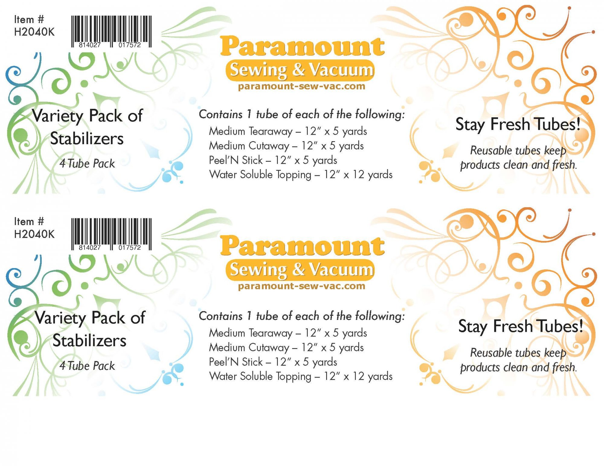 Paramount Stabilizer: 4 Pack Tube Display