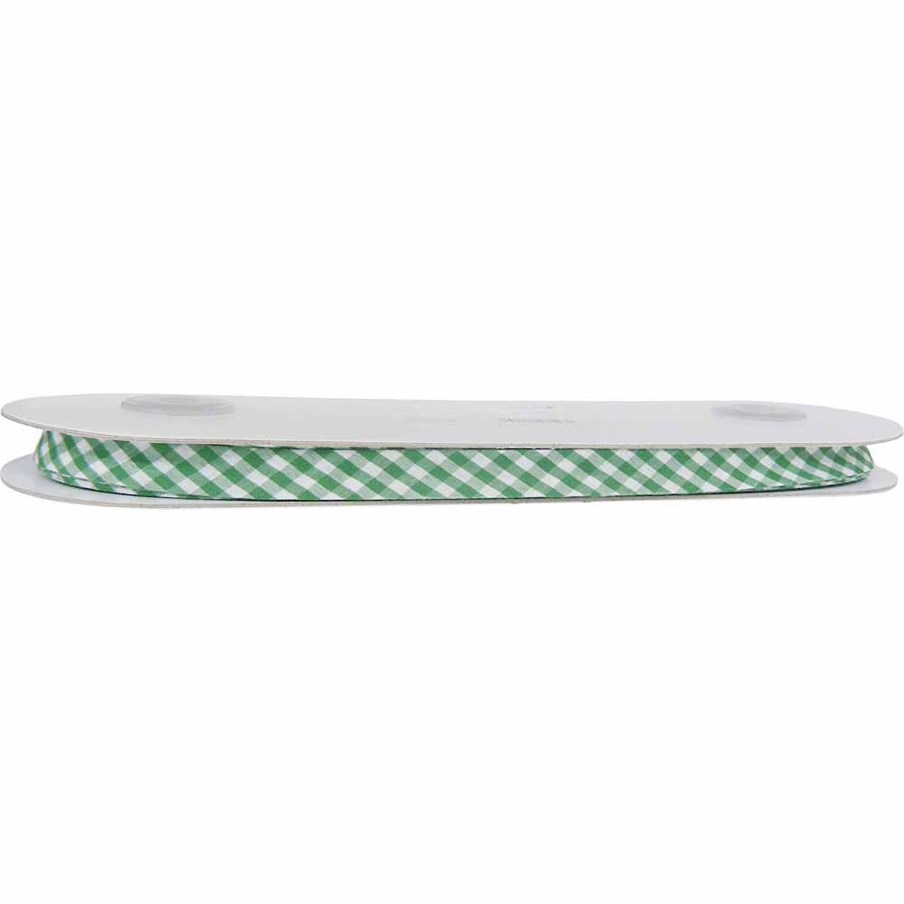 UNIQUE Extra Wide Double Fold Printed Bias Tape 14mm - Kelly Green Gingham
