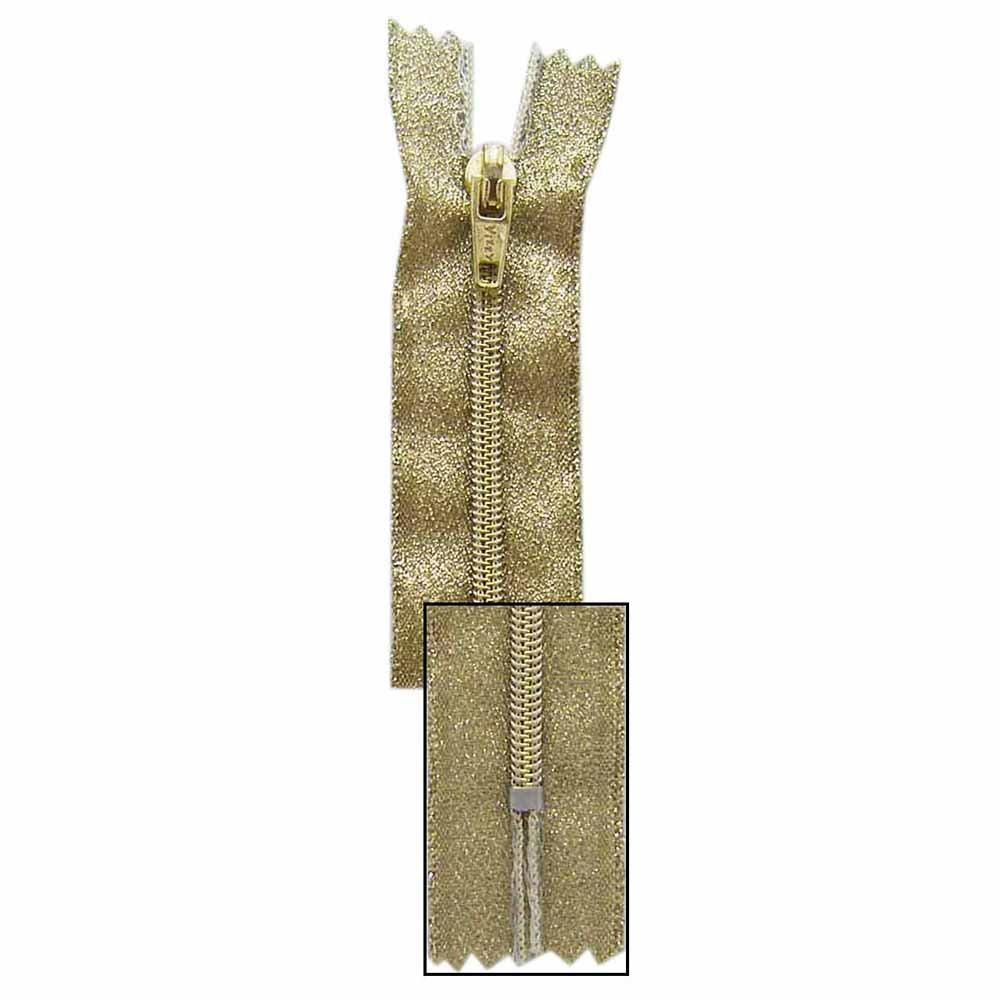 VIZZY Metallic Closed End Zipper - Metallic Gold - 24-385