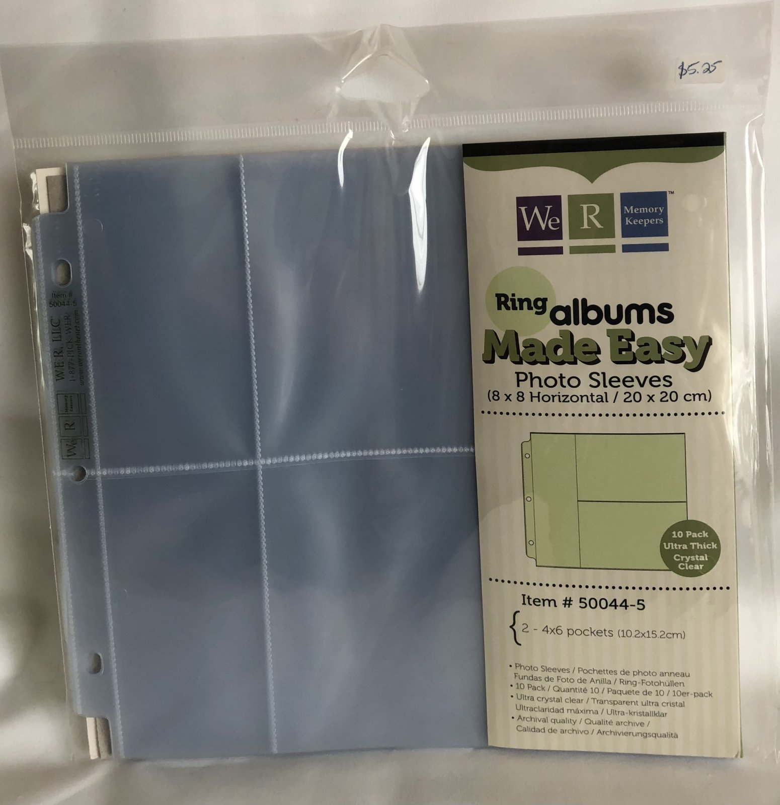 We R Memory Keepers Ring Albums Made Easy 8x8 Photo Sleeves
