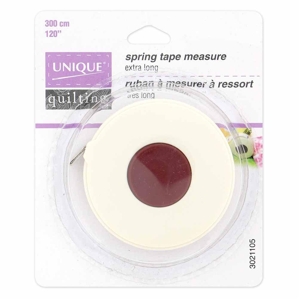 UNIQUE QUILTING Spring Mechanism Retractable Tape Measure - Extra Long - 300cm (120?)