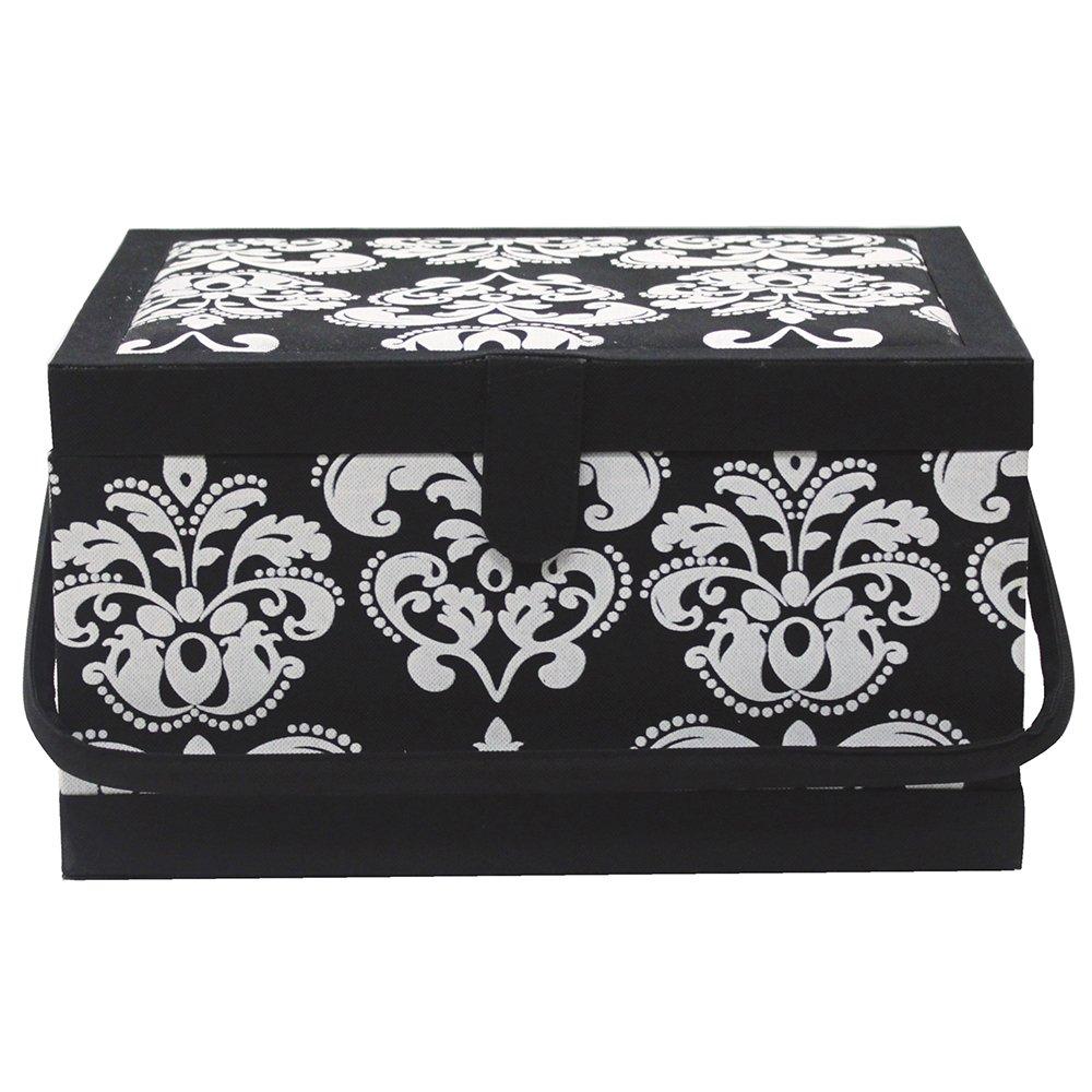VIVACE Sewing Basket - Black & White - 34 x 27 x 20cm