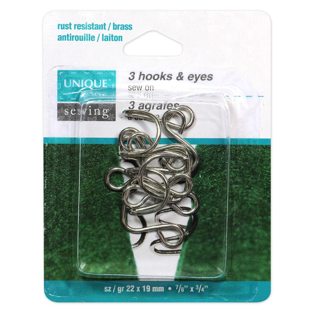 UNIQUE SEWING Hooks & Eyes Nickel - 22 x 19mm (7/8? x 3?4?) - 3 sets