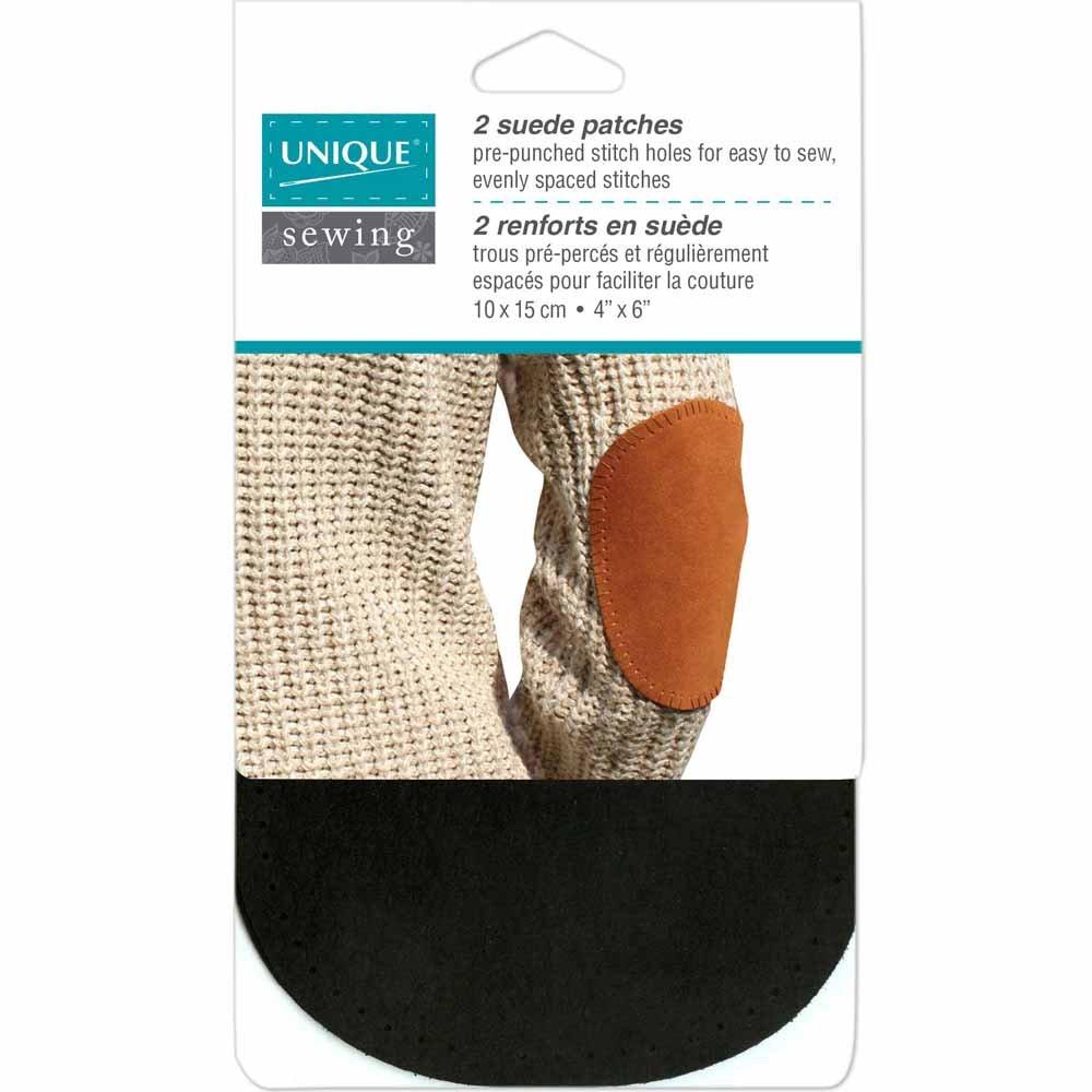 UNIQUE SEWING Suede Patch Black - 10 x 15cm (4? x 6?) - 2pcs