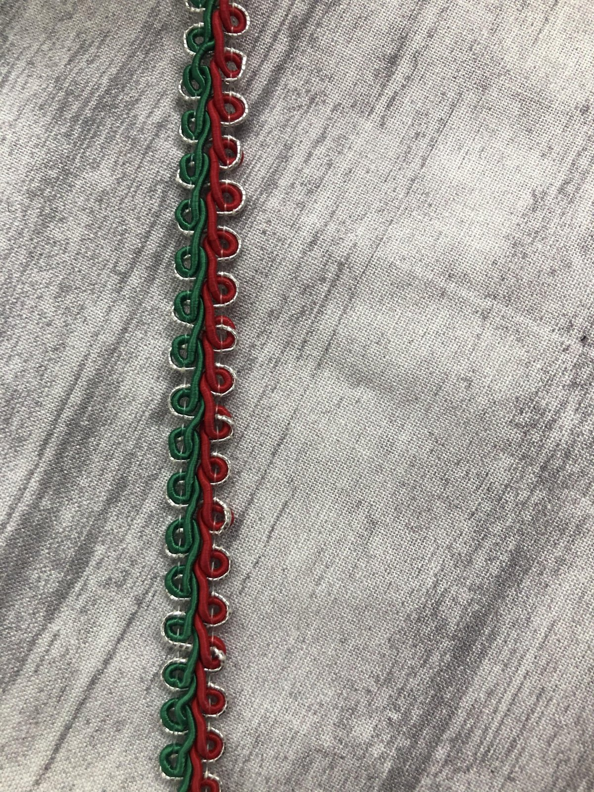 3/8 Chinese Gimp Trim Red Green And Metallic Silver 40%Rayon/40%Cotton/20%Metallic 1289-010