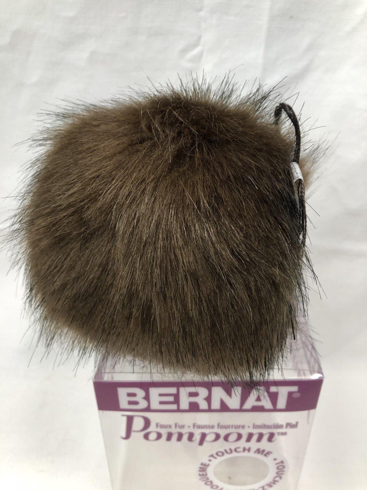 Bernat Faux Fur Pompom 1/Pkg-Brown Muskrat