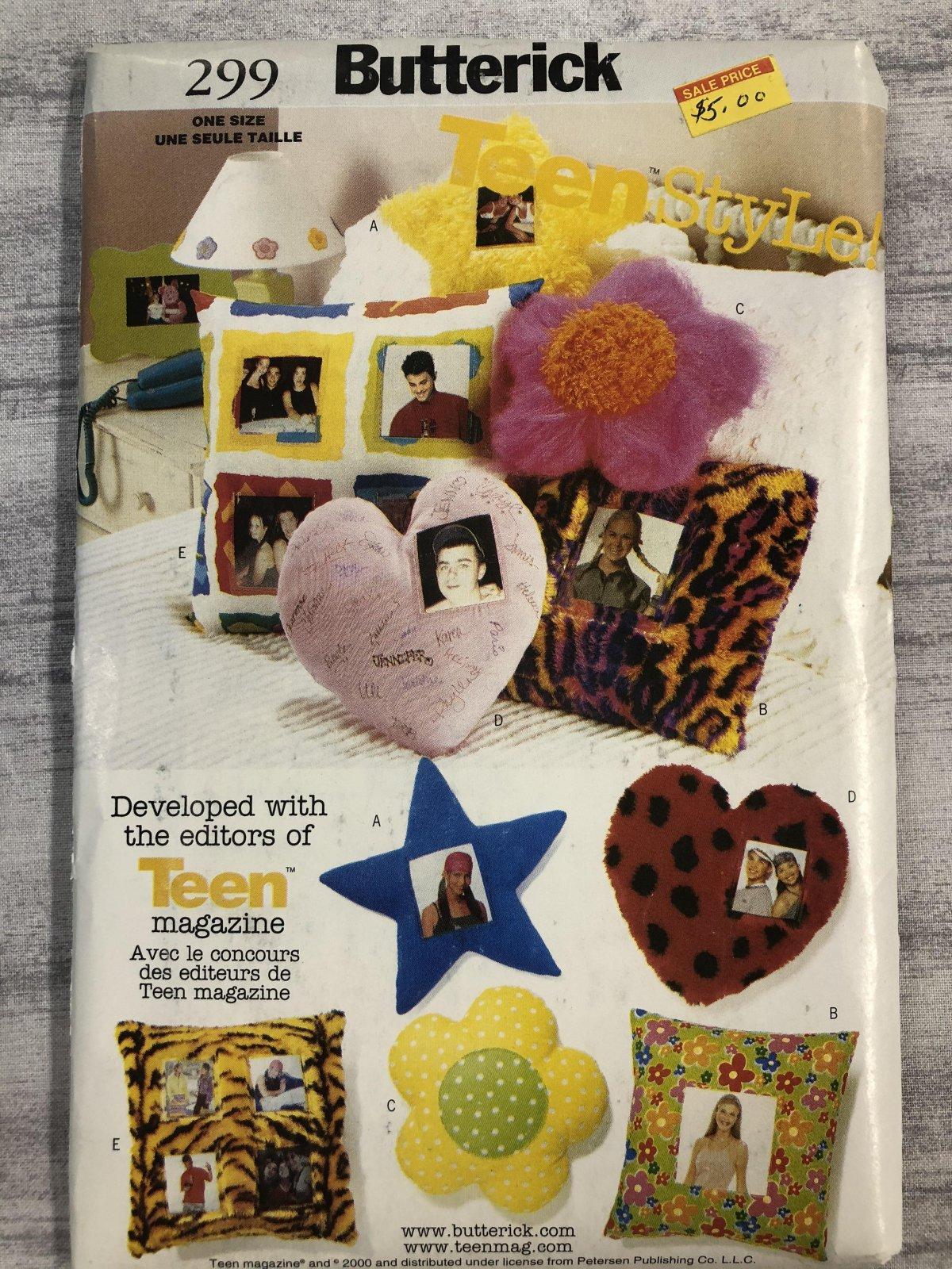 Butterick Teenstyle Pillows 0299