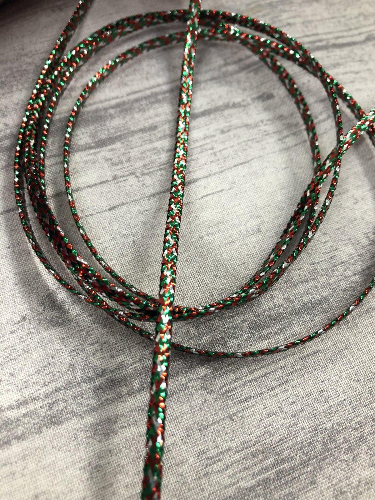 3mm Flat Cording Metallic Red Green Silver 69%Metallic/31%Nylon