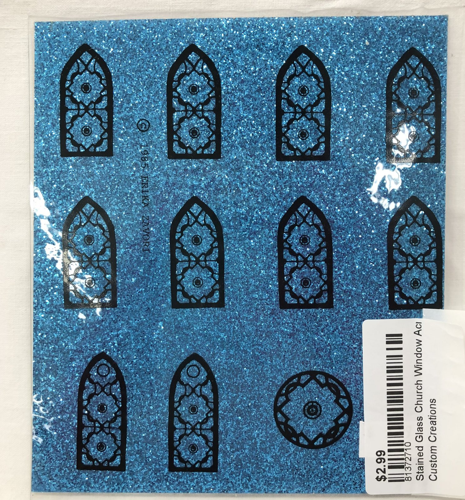 Stained Glass Church Window Acrylic Sheeting - Blue