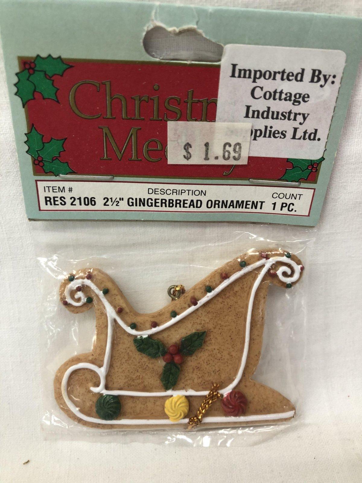 Christmas Medley Sleigh Gingerbread Ornament 717656130592