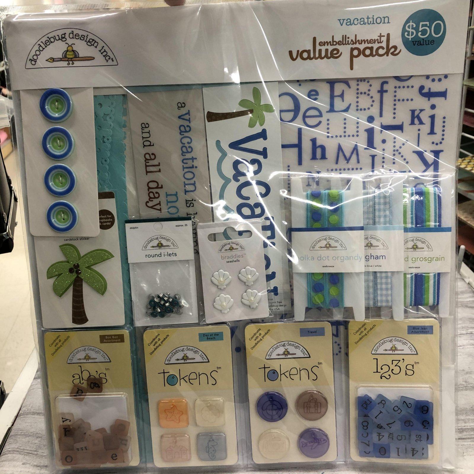 Doodlebug Embellishment Value Pack Vacation 3819