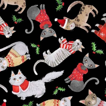 Cats from Timeless Treasures - Cats in Christmas Sweaters on Black