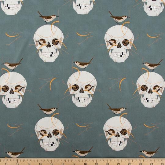 Charley Harper Halloween - Birch Fabrics - Wrented Nest Skulls