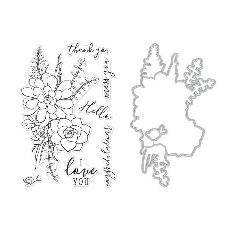 Hero Arts Clear Stamp & Die Combo - Succulent Bouquet