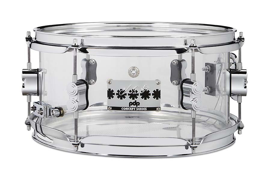 PDP Chad Smith Signature Clear Acrylic Snare Drum 6x12 with Chrome Hardware