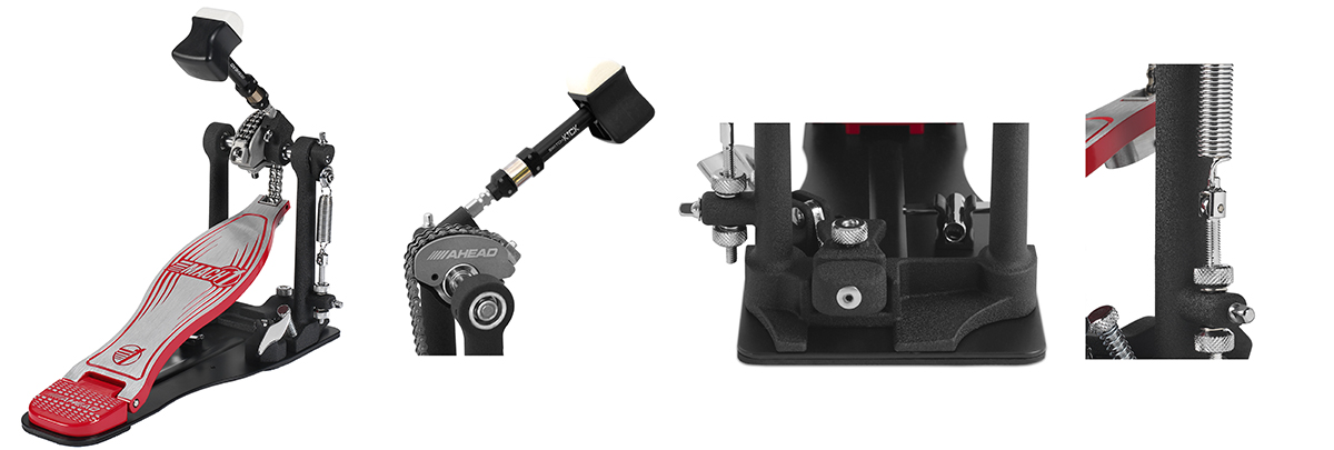 Ahead Mach 1 PRO Single Pedal with Double-Sided Speed Kick Beater (w/Limited Edition Black Shaft) w/New Spring Swivel