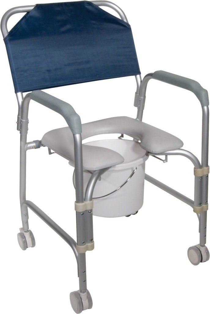 ROLLING SHOWER CHAIR W/PADDED SEAT DRIVE