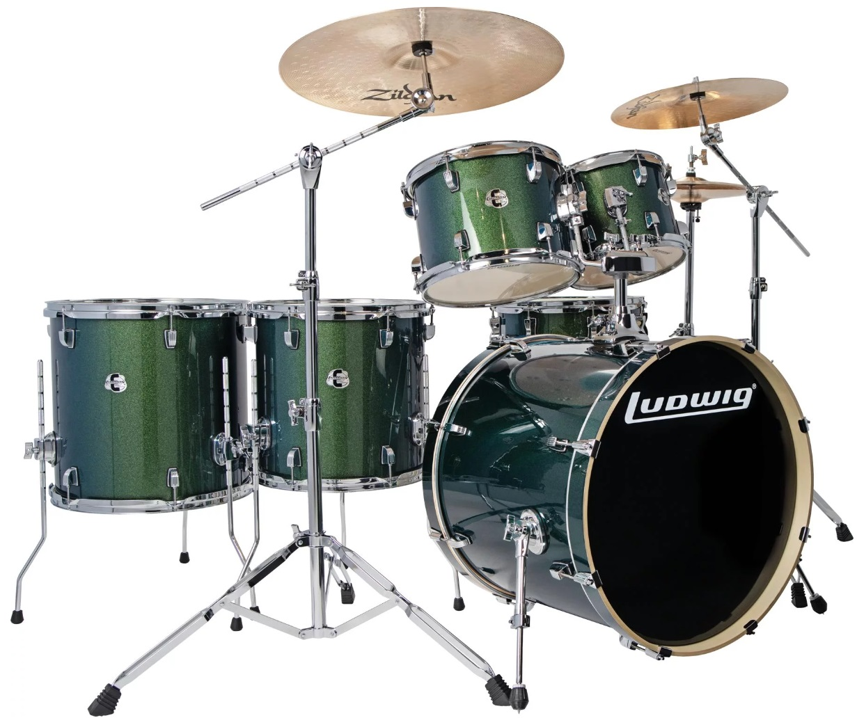 Ludwig Element Evolution 6PC with Zildjian Cymbals & Hardware - Emerald Sparkle 10/12/14/16/22/14SN