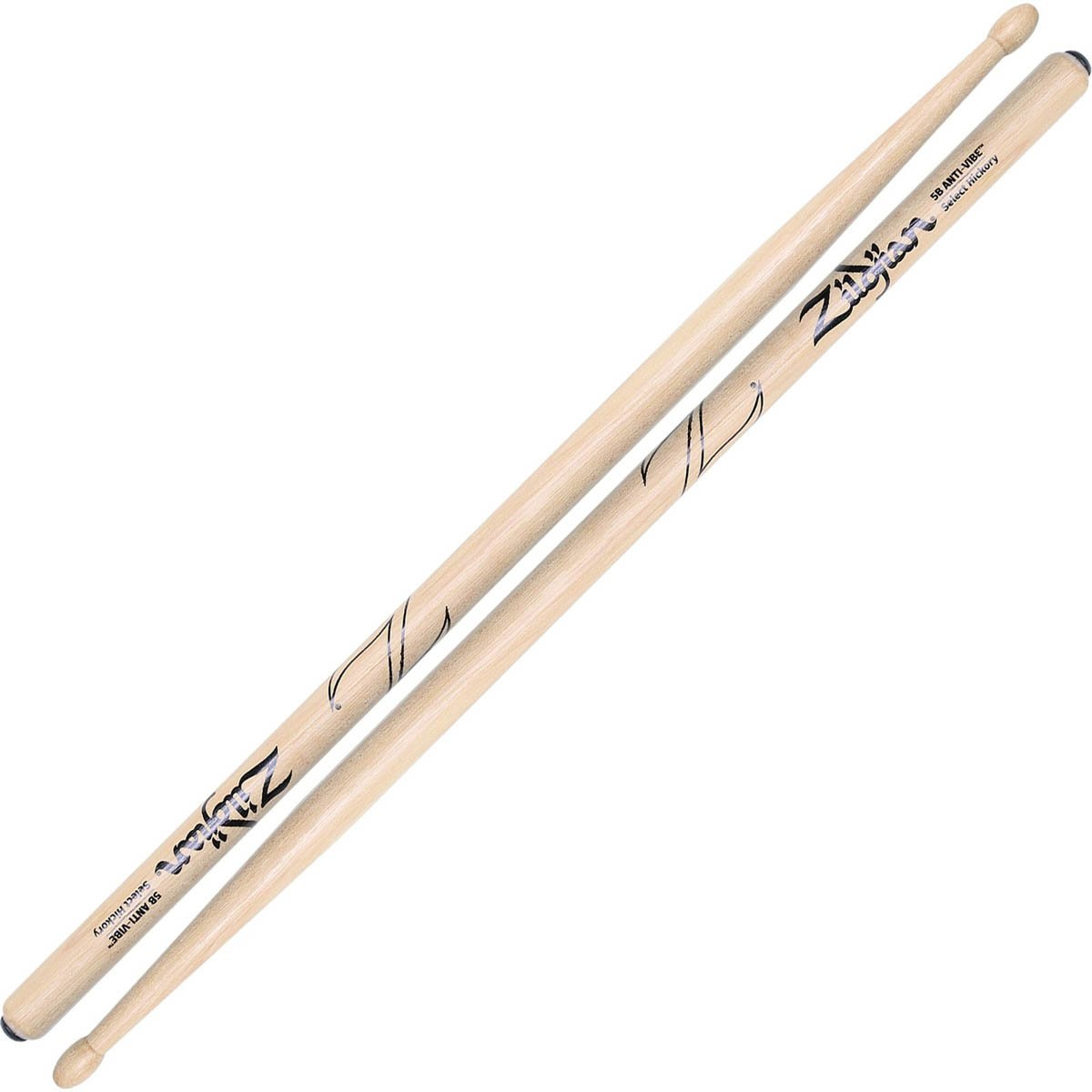 Zildjian 5B Anti-Vibe Hickory Drum Stick - Wood Tip