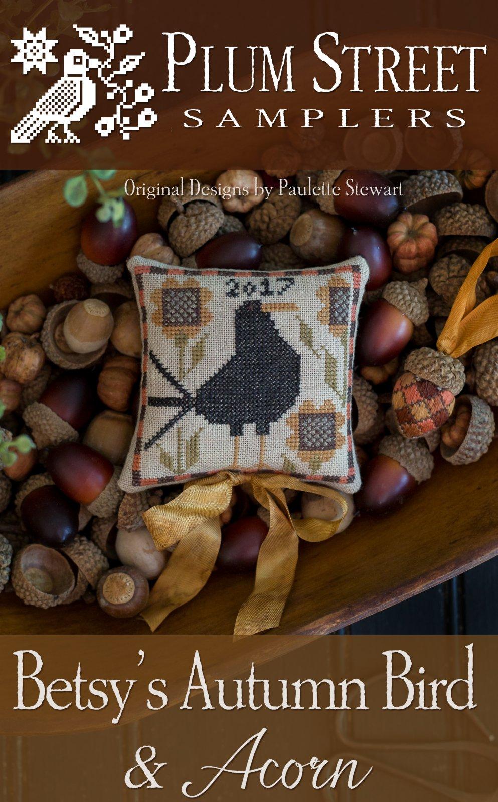 Betsy's Autumn Bird and Acorn chart - Plum Street Samp