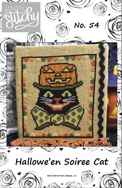 Hallowe'en Soiree Cat chart - Bendy Stitchy