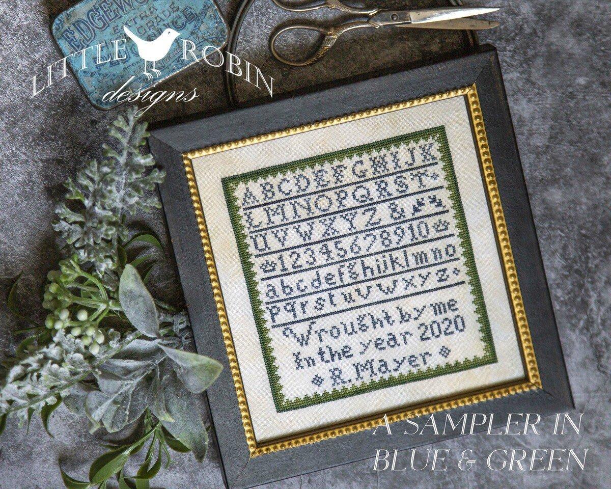 A Sampler in Blue & Green chart - Little Robin Designs