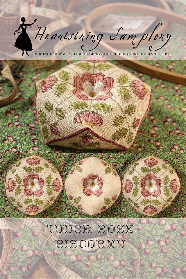 Tudor Rose Biscornu chart - Heartstring Samplery