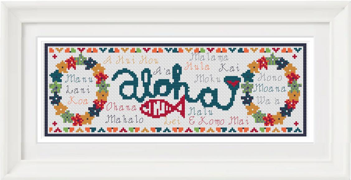 Hawaiian Bookmark chart - Salty Stitcher Designs