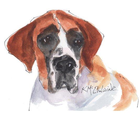 Intermediate Watercolor Painting Video Class St Bernard Dog PT029