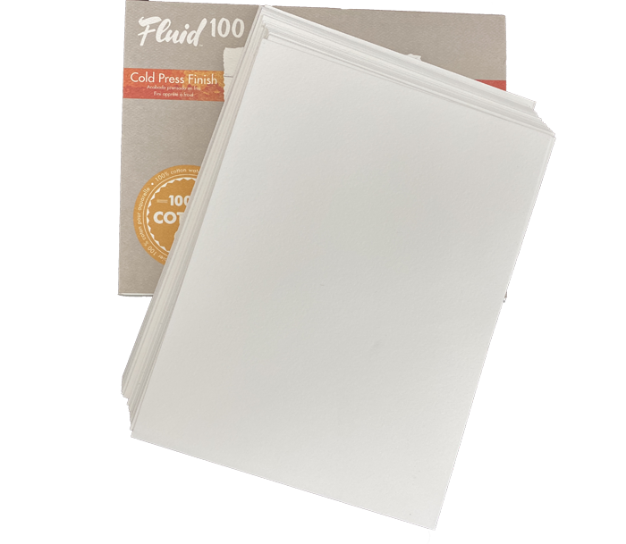 30 Loose Sheets of Fluid 100 Watercolor Paper 100% Cotton ID 30Fluid100