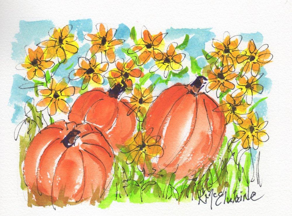 Beginners to Intermediate Pumpkins Sunflowers FL089